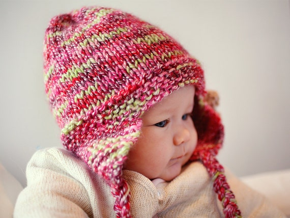 Earflap Hat Pdf Knitting Pattern Hat With Flower Instant Etsy