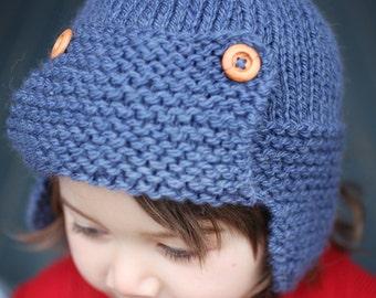 Aviator Hat Knitting Pattern, Instant Download PDF Pattern, Child to Adult Sizes Aviator Hat Pattern, Earflap Hat Pattern - CORY