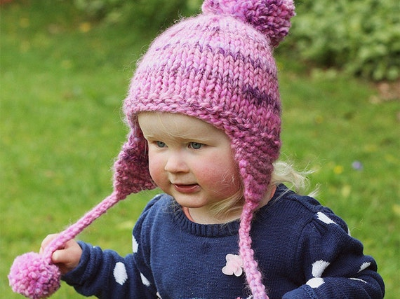 Earflap Hat Knitting Pattern Hat With Pom Pom Baby Child