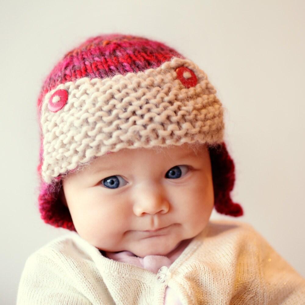 Baby Aviator Hat Knitting Pattern, Easy Knit Baby Hat, Aviator Hat ...
