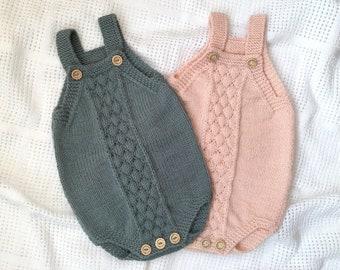 Baby Romper PDF Knitting Pattern Bubble Stitch Romper