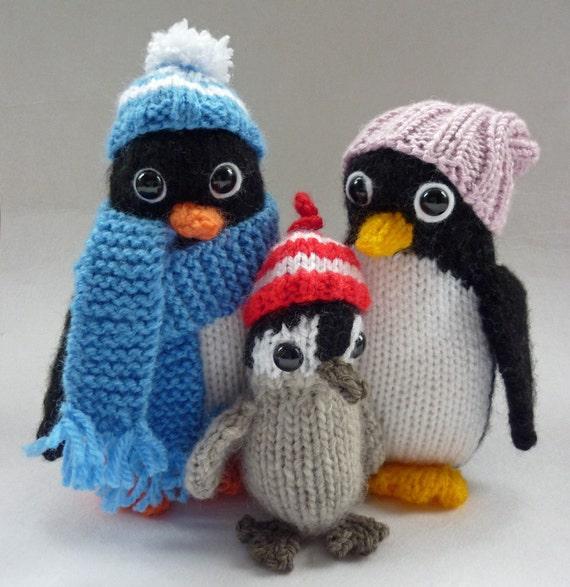 Penguin Knitting Pattern Knitted Penguin Pattern Penguin Toy Etsy