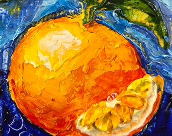 Orange  2x2 Original Impasto Oil Painting by Paris Wyatt Llanso