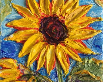 Sunflower 5 x 5 by 1 1/2 inches Original Impasto Oil Painting by Paris Wyatt Llanso