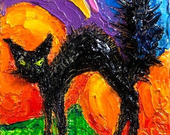 Black Cat 2x2 Original Impasto Oil Painting by Paris Wyatt Llanso