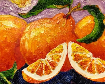 Three Oranges and Bits 10 by 20 by 1 1/2 Inches deep Original Impasto Oil Painting by Paris Wyatt Llanso, FREE SHIPPING in USA