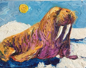 Walrus 5 by 7 Inch Original Oil Painting by Paris Wyatt Llanso FREE SHIPPING
