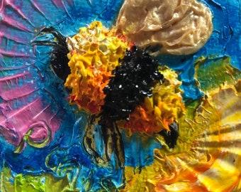 Bumble Bee 2x2 Original Impasto Oil Painting by Paris Wyatt Llanso
