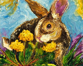 Wild Bunny Eating Dandelions 6x6 Inch Original Oil Painting by Paris Wyatt Llanso FREE SHIPPING
