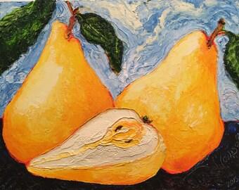 Golden Pears 11x14 Inch Original Impasto Oil Painting by Paris Wyatt Llanso