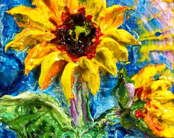 Sunflower 2x2 Original Impasto Oil Painting by Paris Wyatt Llanso