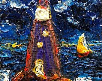 Safe Harbor 2 by 2 inch Original Impasto Oil Painting by Paris Wyatt Llanso