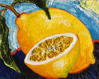 Lemons 11 by 14 by 1 1/2 Inch Original Impasto Oil Painting by Paris Wyatt Llanso