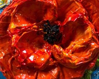 Poppy  2x2 Original Impasto Oil Painting by Paris Wyatt Llanso