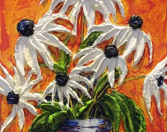 Daisy's in a  blue and white vase 11 by 14 inch  Original Impasto Oil Painting by Paris Wyatt Llanso
