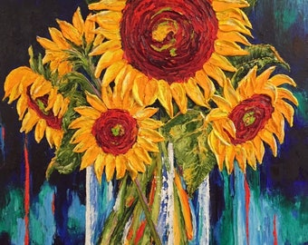 Sunflowers in Glass Vase 24 by 30 inch  Original Impasto Oil Painting by Paris Wyatt Llanso