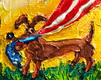 Independence Day Dog 2 by 2 inch Original Impasto Oil Painting by Paris Wyatt Llanso