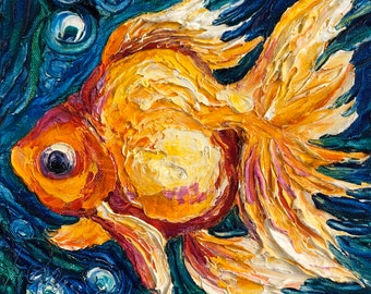 Gold Fish 10 by 10 by 1 1/2 Inch Original Impasto Oil Painting by Paris Wyatt Llanso