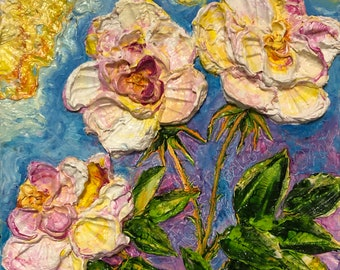 Roses  10 by 10 by 3 inches Original Impasto Oil Painting by Paris Wyatt Llanso
