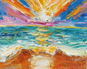 Sunrise at the Shore'  6x6 by 1 1/2 Inch Original Impasto Oil Painting by Paris Wyatt Llanso