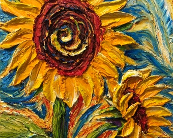 Sun Drenched Sunflowers 16 by 20 by 1 1/2 inches Original Impasto Oil Painting by Paris Wyatt Llanso