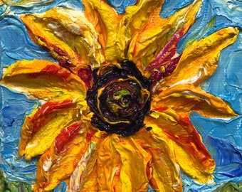 Paris' Petite Sunflower 4 by 4 Fine Art Impasto Oil Painting by Paris Wyatt Llanso