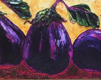 Purple Eggplants 12 by 36 Inch Original Oil Painting by Paris Wyatt Llanso FREE SHIPPING
