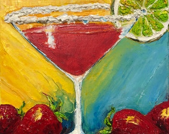Strawberry Margarita 8 by 8 by 1 1/2 Fine Art Impasto Oil Painting by Paris Wyatt Llanso