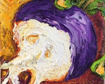 Purple Turnip 6 by 6 Inch Original Impasto Oil Painting by Paris Wyatt Llanso