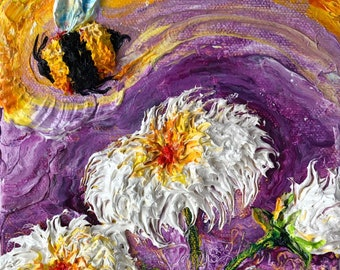 Bee Buzzing Coconut Daisies  6 by 6 Inch Original Oil Painting by Paris Wyatt Llanso FREE SHIPPING
