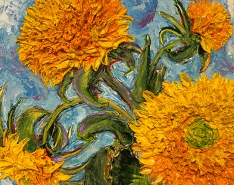 Teddy Bear Sunflowers 10 by 10 by 3 inches Original Impasto Oil Painting by Paris Wyatt Llanso
