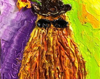 Cousin It Halloween mini 2x2 Original Impasto Oil Painting by Paris Wyatt Llanso