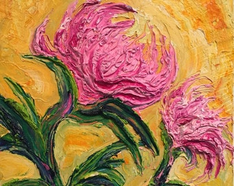 Pink Mums 12x12 inch  Original Impasto Oil Painting by Paris Wyatt Llanso