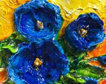 Morning Glory 2 by 2 inch Original Impasto Oil Painting by Paris Wyatt Llanso