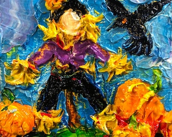 Scarecrow and Pumpkins  2x2 Original Impasto Oil Painting by Paris Wyatt Llanso