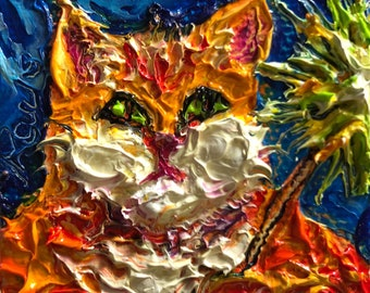 Celebrate Kitty  2x2 Original Impasto Oil Painting by Paris Wyatt Llanso