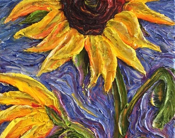 Sunflowers 12x24 inches Original Impasto Oil Painting by Paris Wyatt Llanso