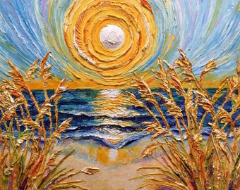 Sunny Seashore 18 by 24 by 1 1/2 Inch Original Impasto Oil Painting by Paris Wyatt Llanso