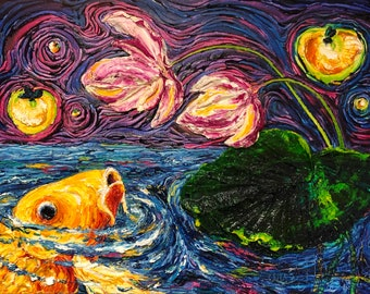 Koi, Fireflies and lilies 18 by 24 by 1 1/2 Inch Original Impasto Oil Painting by Paris Wyatt Llanso