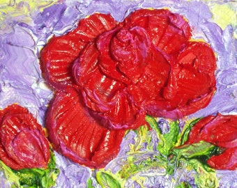Red Rose 4x5 Inch Floral Still Life Valentine Original Impasto Oil Painting by Paris Wyatt Llanso