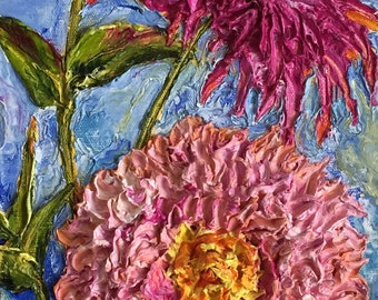 Zinnias 8 by 24 inchs Original Impasto Oil Painting by Paris Wyatt Llanso