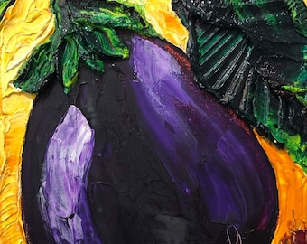 Purple Eggplants 8 by 10 by 1 1/2 Inch Original Oil Painting by Paris Wyatt Llanso FREE SHIPPING