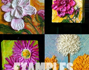 Custom Mom's Favorite Flower 6x6 Mother's Day Original Oil Painting