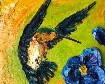 Hummingbird 6x6 Inch Original Oil Painting by Paris Wyatt Llanso FREE SHIPPING