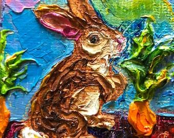 Garden Bunny   2x2 Original Impasto Oil Painting by Paris Wyatt Llanso