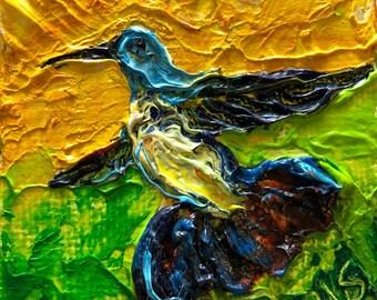 Hummingbird  2x2 Original Impasto Oil Painting by Paris Wyatt Llanso