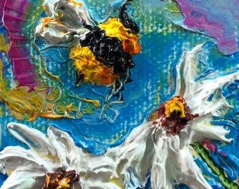 Bumble Bee Daisies 2x2 Original Impasto Oil Painting by Paris Wyatt Llanso