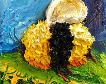 Bee Happy  4 by 4 Inch Original Oil Painting by Paris Wyatt Llanso FREE SHIPPING