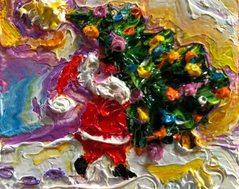 Santa Christmas Tree 2x2 Original Impasto Oil Painting by Paris Wyatt Llanso