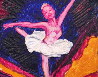 Ballerina  6x6  Inch Original Impasto Oil Painting by Paris Wyatt Llanso